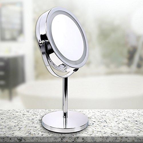 Schramm® Cosmetische Spiegel met 16 LED's Hoogte: ca. 32 cm Make-up spiegel Make-up spiegel met verlichting Staande spiegel