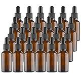 Lawei - Botellas de vidrio ámbar con pipetas cuentagotas para aceites esenciales, perfume...
