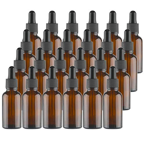 Lawei - Botellas de vidrio ámbar con pipetas cuentagotas para aceites esenciales,...