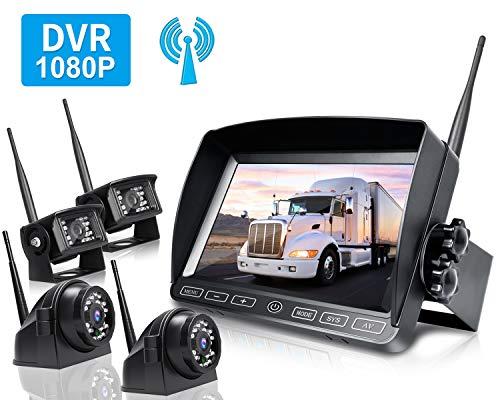 ZEROXCLUB Digital Wireless Backup Camera System Kit,HD1080P Wireless Reverse Rear Side View Camera,No Interference,IP69 Waterproof + 7'' LCD Wireless Monitor for RV/Truck/Trailer/Bus/Pickup/Van-B4C