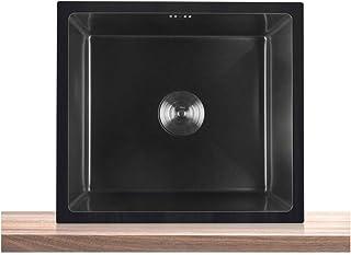 QingH yy Bassin Manuel D'évier De Cuisine À Un Bol en Acier Inoxydable Nano Commercial avec Ensemble De Drainage, Drain Ce...