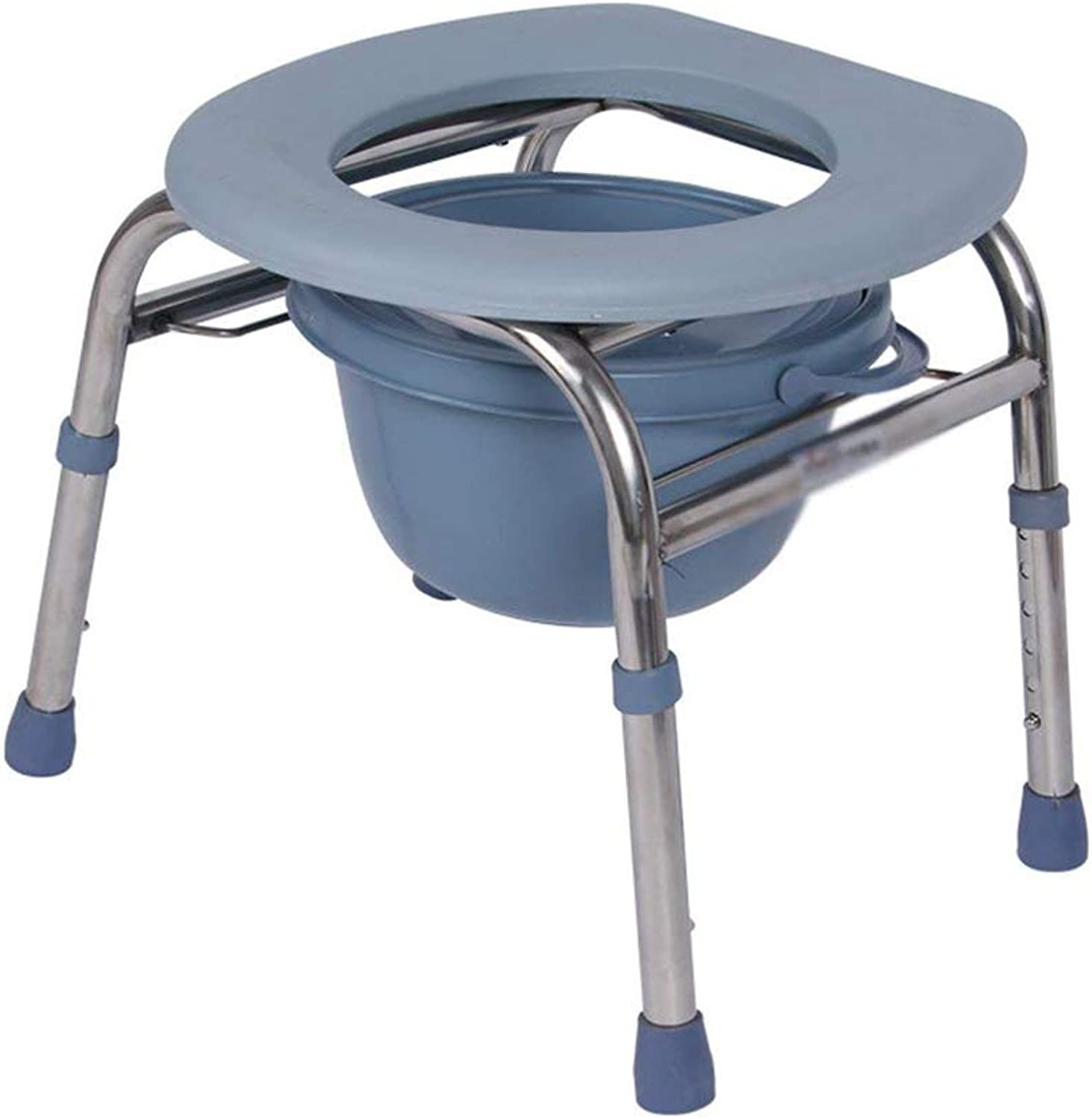 Adjustable Stainless Steel Elderly Pregnant Women Adult Disabled Bathroom Toilet Stool Chair (32-47Cm)