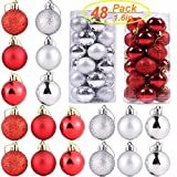 Szsrcywd 48 Pack Red and Silver Christmas Ball Ornaments for Christmas Tree Party Decoration,40mm Mini Shatterproof Christmas Ornament with Hanging Rope