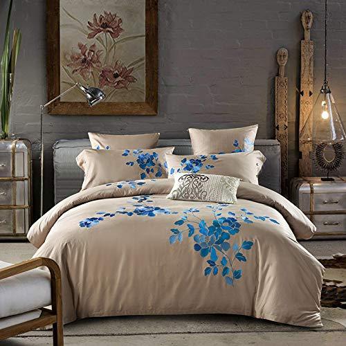 Yaonuli katoen langvezelig borduurwerk vierdelig katoen kleine spatels bruiloft fris - bed blauw 1.8 (dekbedovertrek 200 x 230 cm, laken 250 x 250 cm)