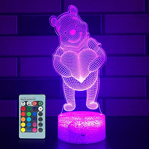 SETIFUNI Bear Lamp Bear Toys Night Light for Girls Room 16 Colors Changing & Dimmable LED Bedside Lamp for Girls Bedroom with Remote/Touch Valentine's Day Gifts for Girlfriend and Women Birthday