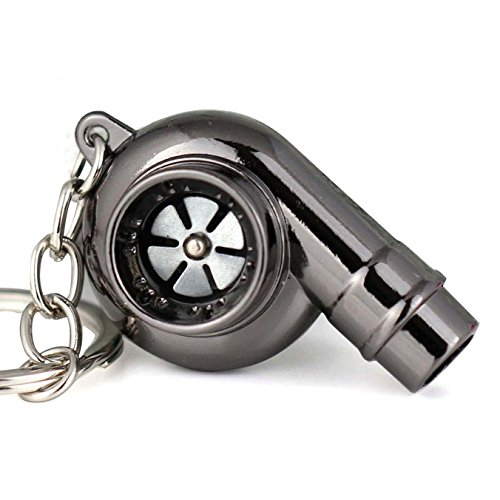 Maycom Creative Spinning New Chrome Polished Gunmetal Black Turbo Turbocharger Keychain Key Chain Ring Keyring Keyfob,make Whistle Sound