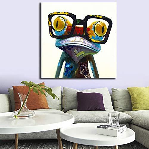 BailongXiao Gafas de Rana con Carteles y lienzos Modernos Cuadros de Arte de la Pared decoración del hogar,Pintura sin Marco,45x45cm