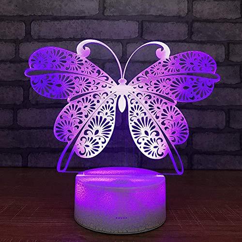 YOUPING Lámpara de ilusión 3D LED luz nocturna mariposas centro comercial y luces USB únicas coloridas
