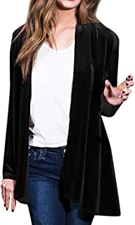 JOFOW Womens Long Velvet Suit Jackets Coats Solid Waterfall Swing Collar Vintage Casual Loose Straight Cardigans Plus Size