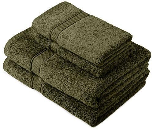 Pinzon by Amazon Handtuchset aus Baumwolle, Moosgrün, 2 Bade- und 2 Handtücher, 600g/m²