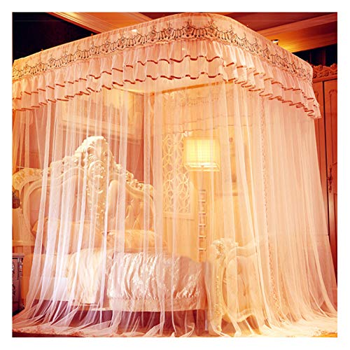 LKH New Bed Canopy for Girls, Landing Encrypted Mesh Tent Yarn, U-shaped Guide Rail Mosquito Net for 1.5-2.2m Bed(Size:for 1.5m/5 feet bed)
