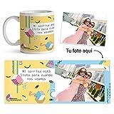 Fotoprix Taza Personalizada con Foto y diseño 'Ganas de Verte' | Regalo Original Mejor Amiga | Varios diseños (Sonrisa)