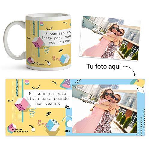 Fotoprix Taza Personalizada con Foto a Partir de un diseño | Te Echo de Menos, Miss You | Regalo Original | Varios diseños Disponibles (Sonrisa)