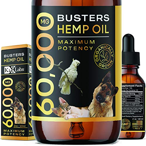 K2xLabs |Max Potency| Busters Organic Hemp Oil for Dogs & Cats - Hip and Joint Health - Natural Relief for Pain, Separation Anxiety-Perfect Ratio of Omega 3, 6 & 9-Made in USA (60,000MG, 1Pack)