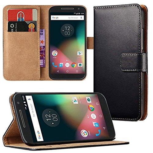 Eximmobile - Book Case Handyhülle für Motorola Moto G 2. Generation mit Kartenfächer | Schutzhülle aus Kunstleder | Handytasche als Flip Case Cover in Schwarz Handy Tasche Etui Hülle Kunstledertasche