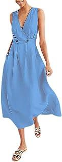 neveraway Women's Elegent Sleeveless Solid Color Tunic Deep V-Neck Long Dress
