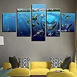 Cuadro De Impresión De Arte En Lienzo Hd, Decoración De Pared De Sala De Estar, 5 Piezas, Película De Dibujos Animados, Acuario, Pez Tiburón, Imagen Azul
