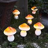 ZWMBYN 6 luces solares de jardín en forma de hongo, lámpara decorativa de camino con forma de hongo, luz de jardín impermeable para jardín, patio, patio trasero, césped, luces de camino