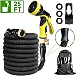 HAUEA Expandable Garden Hose Durable Lightweight Water Hose with 9 Function Spray Nozzle 3300D Fabric, 3/4' Solid Brass Fittings 3-Layers Latex Easy Storage Kink Free Hose Pipe (25FT)
