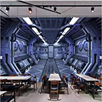 3DステレオユニバーススペースカプセルバーKTV写真壁画壁紙レストランカフェボーイベッドルームの背景3D壁布の装飾-250cmx175cm