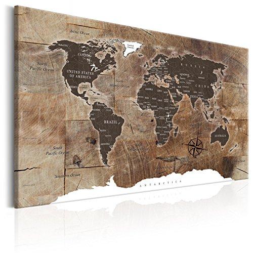 murando Weltkarte Pinnwand & Vlies Leinwand Bild 120x80 cm XXL Bilder mit Kork Rückwand 1 Teilig Kunstdruck Korktafel Korkwand Memoboard Pinboard Wandbilder Karte Landkarte k-C-0050-p-d