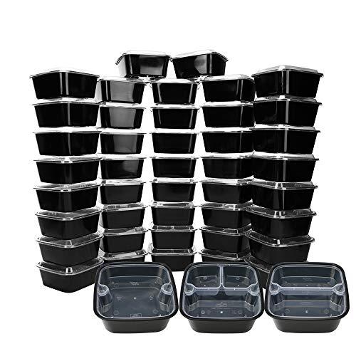 Luxcathy Boîte de 45 bento carrée avec couvercles - 15 sur 1 compartiment, 15 compartiments sur 2, 15 compartiments sur 3, lave-vaisselle pour micro-ondes, sans BPA