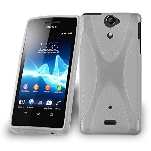 Cadorabo DE-103660 - Cover in Silicone TPU Flessibile per Sony Xperia V, Design X-Line, Colore: Trasparente