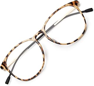 Livho Blue Light Blocking Computer Glasses for Women Men,Anti Eyestrain Blue Light Filter Lens Lightweight TR90 Eyeglasses - 0.0 Magnification (Leopard/Beige/1676-05)