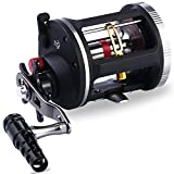 One Bass Fishing Reels Level Wind Trolling Reel Conventional Jigging Reel for Saltwater Big Game Fishing-(TA5000 Black-Gold-Right Handed)