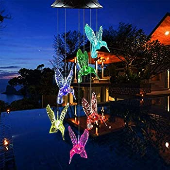 Solar Hummingbird Wind Chimes Color Changing Solar Wind Chime Outdoor Waterproof Hummingbird LED Solar Lights for Home/Yard/Night/Garden