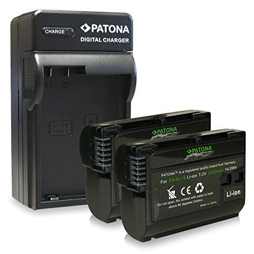 Bundle - 4en1 Cargador + 2x Premium Batería EN-EL15 ENEL15 para Nikon 1 V1 - Nikon D600 |...