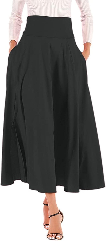 Bravetoshop Womens High Waist Flowy Midi Skirt Casual Elegant Pleated Swing A Line Maxi Skirts with Pockets