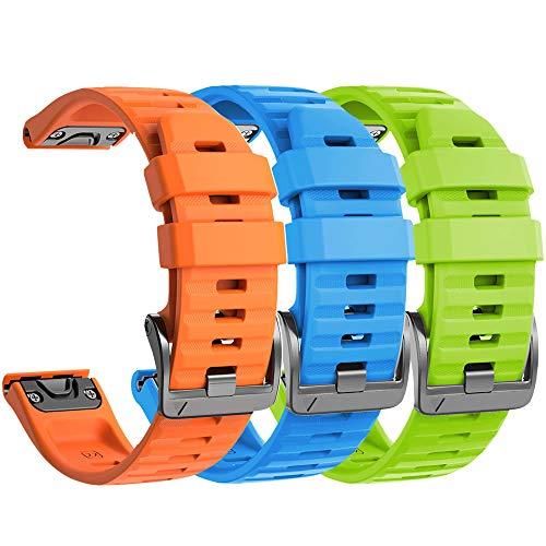 NotoCity Armband für Garmin Fenix 6X /Fenix 6X Pro/Fenix 3 /Fenix 3 HR/Fenix 5X /Fenix 5X Plus, Estrazarmband Quick-Fit 26mm Breite Silikon Uhrenarmband für Garmin, Mehrfache Farben (3PCS)