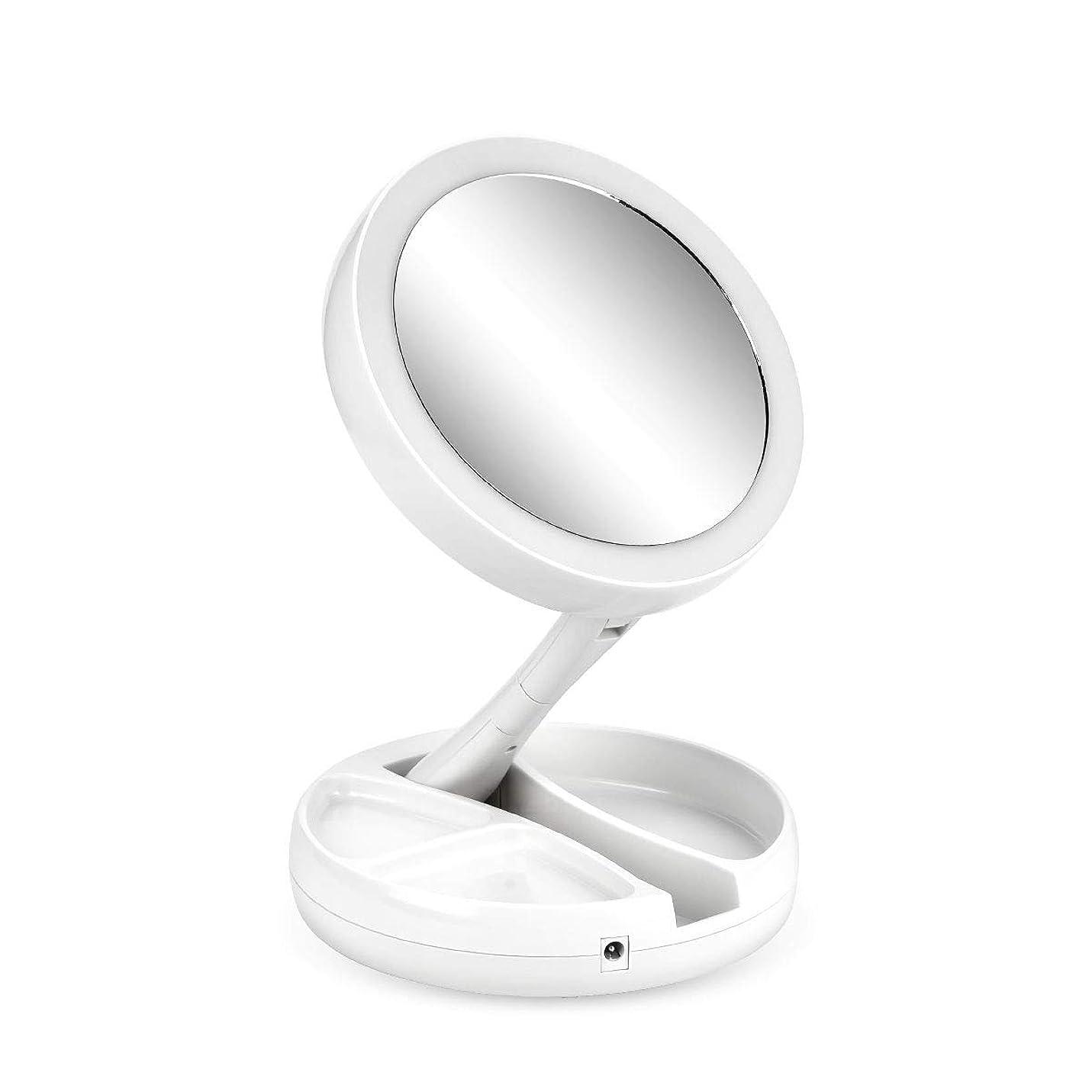 おっと性別無条件CkeyiN 化粧鏡 ledライト付きミラー 母の日ギフト 拡大鏡 10倍と等倍?両面鏡 折り畳み式