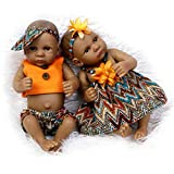 TINGSHOP Mini 10'Reborn Baby Bathe Doll, Réaliste Noir Peau Sombre Peau Ethnique Style Africain Baby Doll Complet Silicone Vinyl Baby Dolls Jouets Cadeau pour Enfant Cadeau De Noël,Boy+Girl