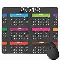 マウスパッド 2019カレンダー Mousepad ミニ 小さい おしゃれ 耐久性が良 滑り止めゴム底 表面 防水 コンピューターオフィス ゲーミング 25 x 30cm