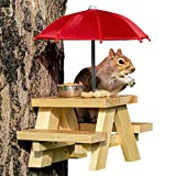 SQUIFTY Squirrel Feeder Picnic Table with Umbrella and Corn Cob Holder and Small Peanut Cup | New Premium Gift for Squirrel and Chipmunk Lovers | Wildlife Bird Animal Feeder Mounting Station (Red)