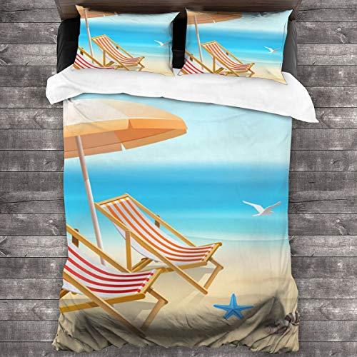 DmiGo Juego de Ropa de Cama-Vacaciones de Verano Fondo de Playa con Tumbona,Juego de Funda Nórdica y 2 Funda de Almohada(Double 200x200cm)