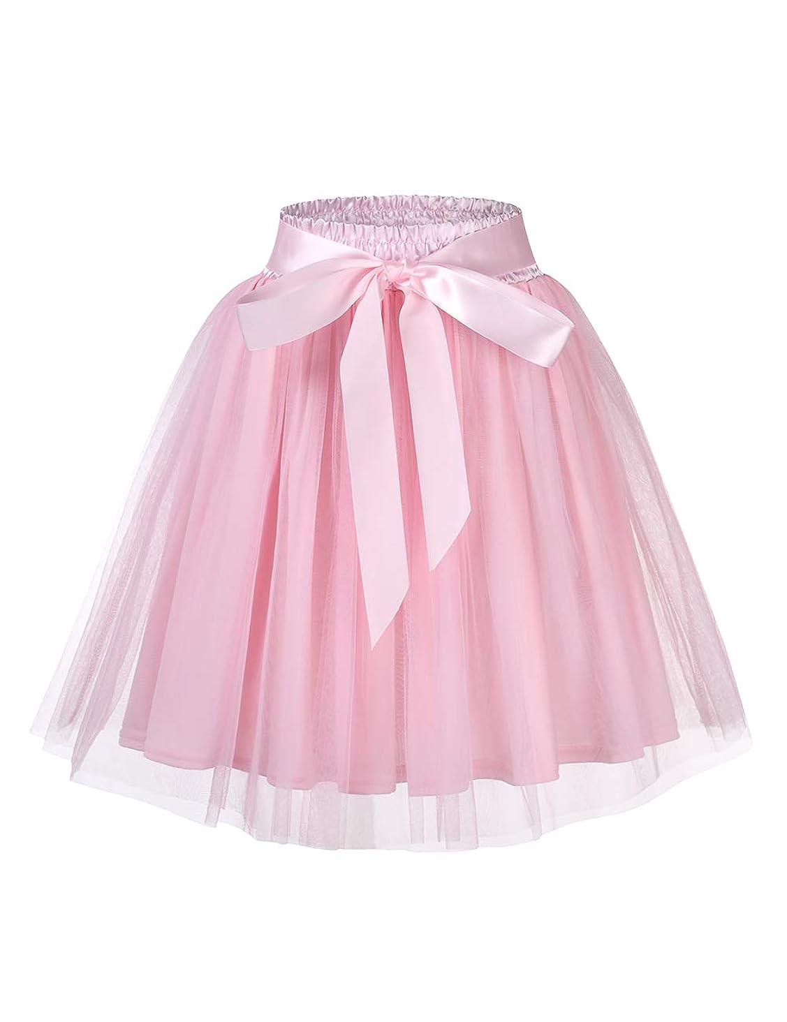 GlorySunshine Women's A Line Princess Tulle Wedding Prom Party Tutu Skirt