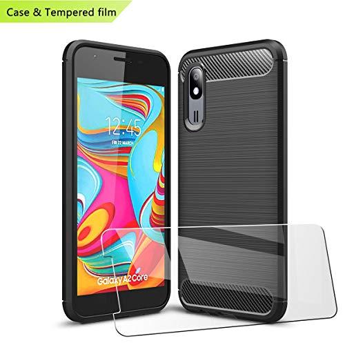 LJSM für Samsung Galaxy A2 Core Hülle Schwarz Kohlefaser + Panzerglas Displayschutzfolie Schutzfolie - Weich Schutzhülle Flexibel TPU Tasche Case für Samsung Galaxy A2 Core (5.0