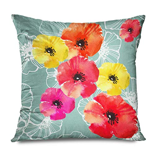 iksrgfvb Throw Pillow Cover Square 45x45CM in White Old Floral Seamless Summer Pattern Fashion Poppy Red Yellow for Poppies
