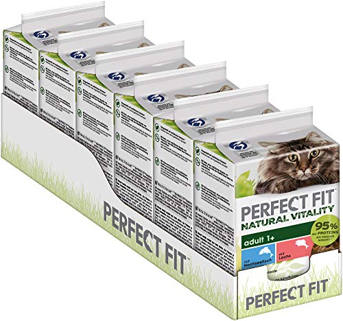 PERFECT FIT Natural Vitality - Katzenfutter Nassfutter Adult 1+ - im Portionsbeutel - Hochseefisch und Lachs, 36 x 50g