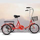 Swing around Nuevo Tipo de triciclos eléctricos para Personas de Mediana Edad y Ancianos, Tiendas de comestibles para Adultos, Bicicletas de luz de Ocio, Bicicletas,Rojo,Backrest