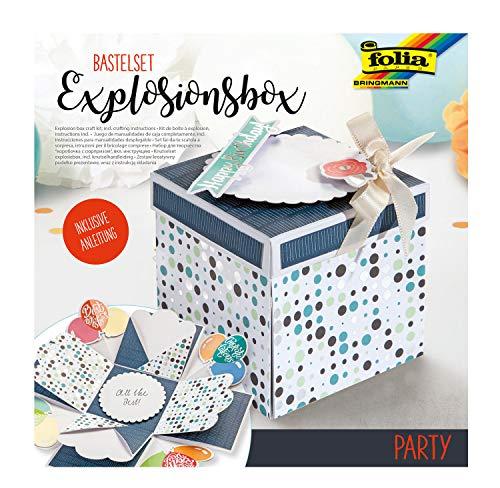 folia 11611 Bastelset Explosionsbox Party, originelle Geschenkbox mit Aufklapp-Funktion, ca. 7,5 x 7,5 x 7,5 cm groß, ideal für Geburtstag, Hochzeit, Muttertag, Valentinstag, usw, bunt, one size