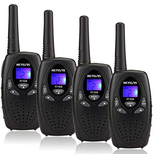 Retevis RT628 Walkie Talkie Niños PMR446 8 Canales Volumen Ajustable 10 Tonos de Llamada VOX Bloqueo de Teclado Walkie Talkie Juguete Regalo para Niños (Negro, 2 par)
