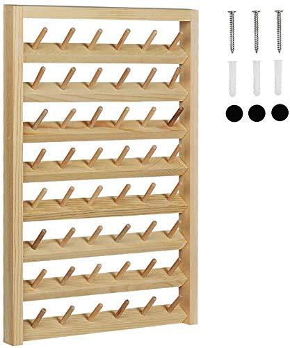 LIANTRAL Soporte de 48 bobinas de hilo de coser montado en la pared con ganchos para colgar en la pared, organizador de madera para mini costura, acolchado, bordado, joyería