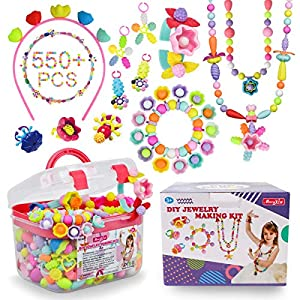 Pop Beads – 550+Pcs DIY Jewelry Making Kit for Toddlers 3, 4, 5, 6, 7 ,8 Year Old, Kids Pop Snap Beads Set to Make…
