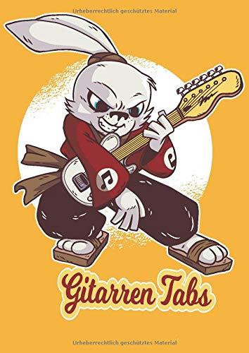 GITARREN TABS: DIN A4 für Anfänger und Fortgeschrittene / Blanko NotenBlock / Leere Notenzeilen / Notensystem / für die Schule / Komponist / mit ... / Design : Metal Hase Kaninchen Gitarre