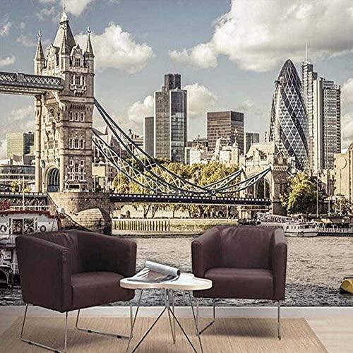 Equipo para el hogar Papel Tapiz fotográfico 3D Puente de Londres Paisaje de la Ciudad Sala de Estar Dormitorio TV Fondo Mural de Pared Papel tapiz-250X175cm