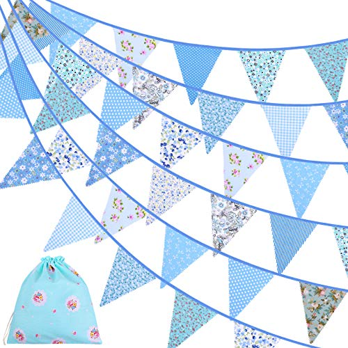 ADXCO 41 Feet Fabric Bunting Banner Vintage Bunting Flag 42 Pieces Floral Pennants Triangle Flags Cloth Garland for Birthday Wedding Party Home Garden Baby Shower Decor, Blue